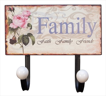 """Family"" 2 Hook Metal Wall Hanger"