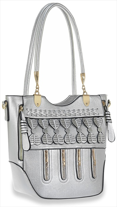 Front Pocket Decorative Tote Handbag Silver