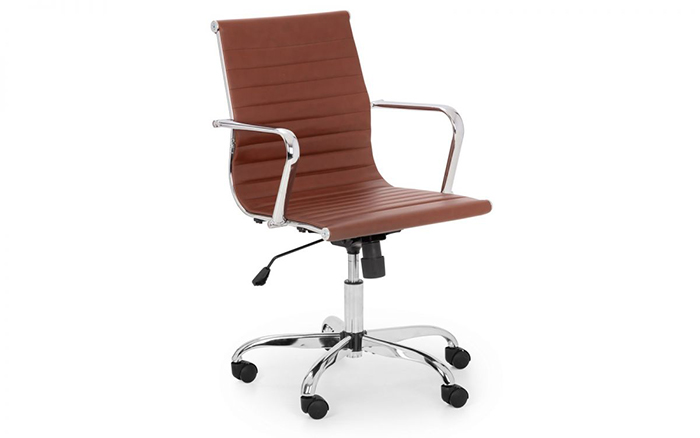 Gio Office Chair Brown & Chrome