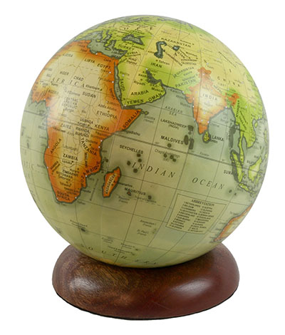 Globe On Wooden Base 15cm