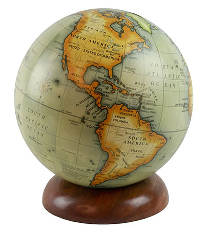 Globe On Wooden Base 20cm