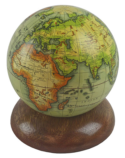 Globe On Wooden Base 10cm