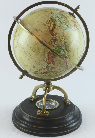WORLD GLOBE WITH COMPASS