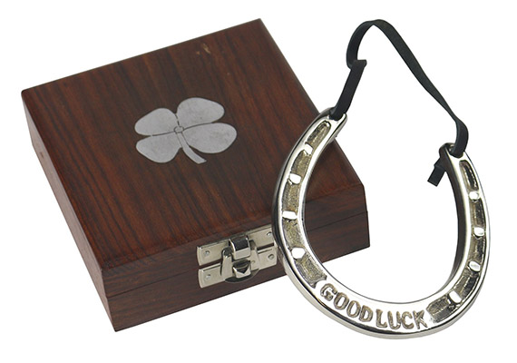Good Luck Horse Shoe In Wooden Box With 4 Leaf Clover Design