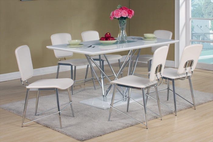 Hagley White High Gloss Table & 6 Chairs