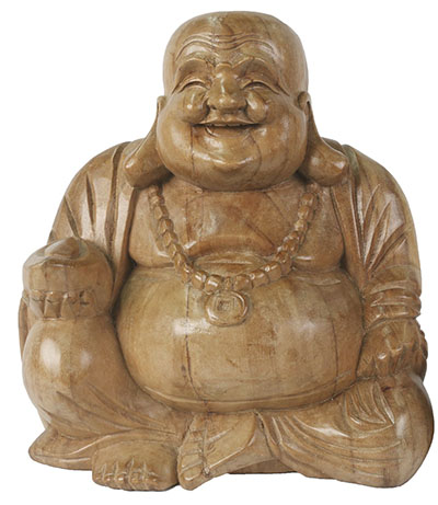 Wooden Happy Buddha 30cm Natural Finish