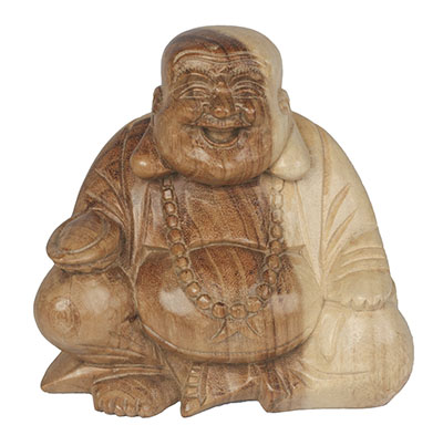 Happy Wooden Buddha Natural Finish