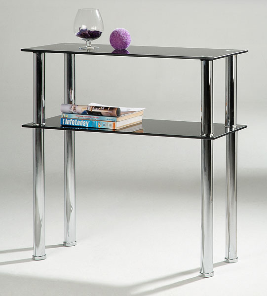 Hudson Black Glass Hall Table