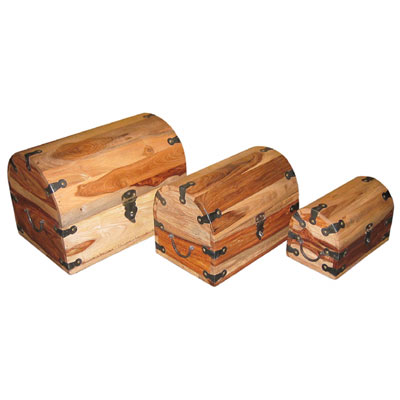 "SHEESHAM ""NATURAL FINISH"" SET OF 3 SMALL ROUND TOP BOXES"
