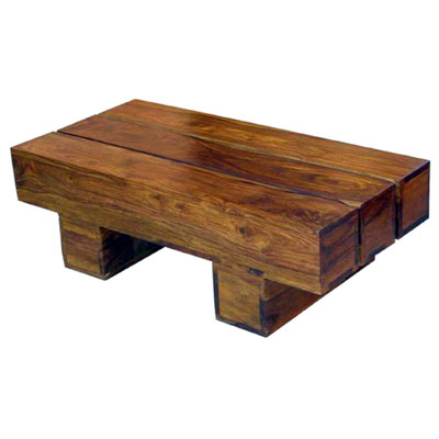 Acacia wood thick top low coffee table tbs for Low coffee table wood