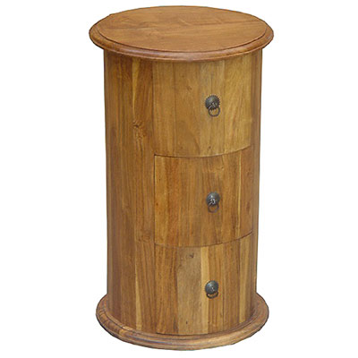 ACACIA WOOD 3 DRAWER ROUND CABINET
