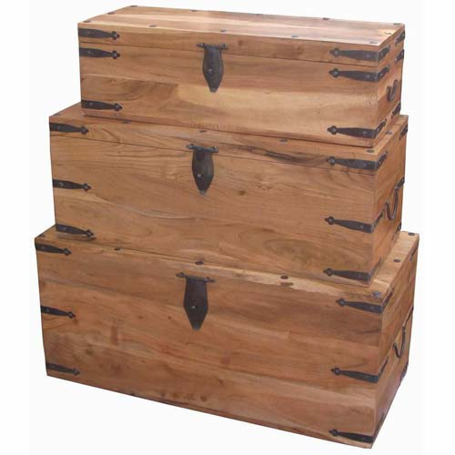 ACACIA WOOD SET OF 3 LARGE TRUNKS WITH BLACK METAL FITMENTS