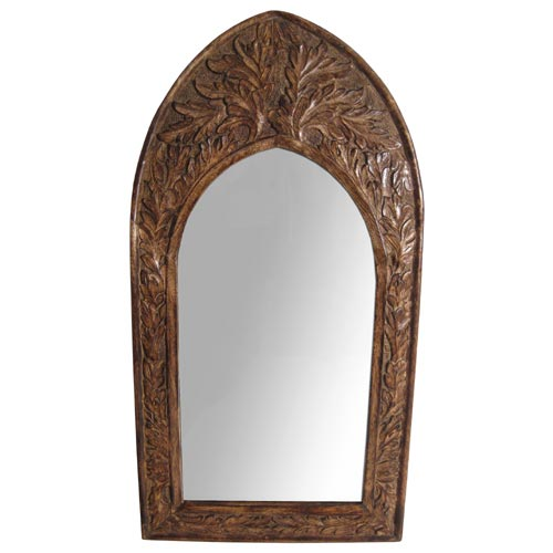 "POLISHED MANGO ""LEAF DESIGN"" LARGE WALL MIRROR (CURVED TOP)"