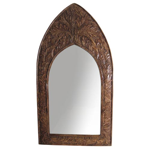 "POLISHED MANGO ""LEAF DESIGN"" WALL MIRROR (CURVED TOP)"