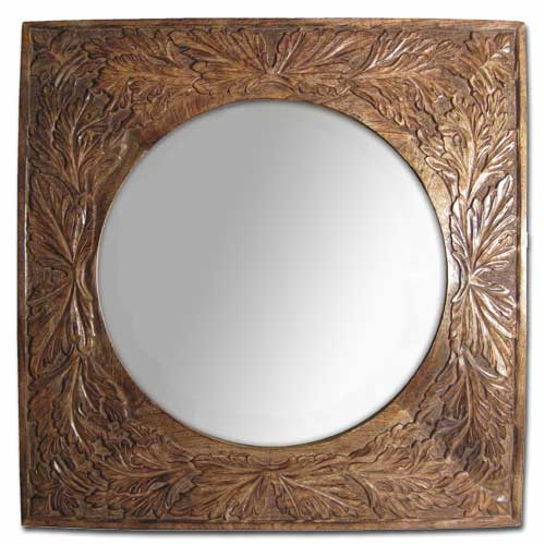 "POLISHED MANGO ""LEAF DESIGN"" SQUARE MIRROR"