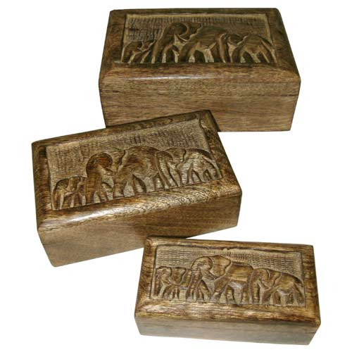 "POLISHED MANGO ""ELEPHANT DESIGN"" SET OF 3 BOXES"