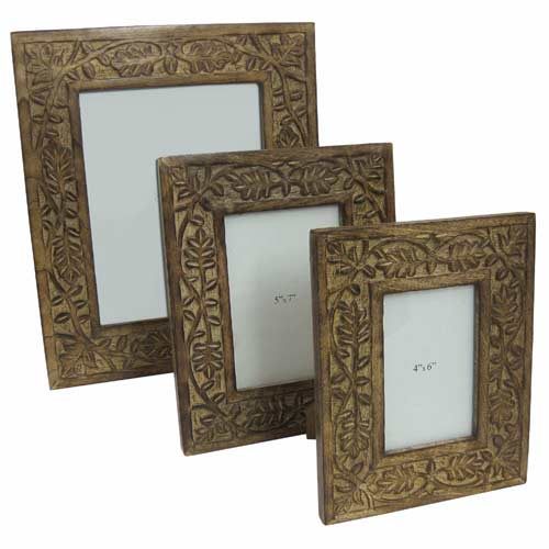 "POLISHED MANGO ""LEAF DESIGN""SET OF 3 PHOTO FRAMES"