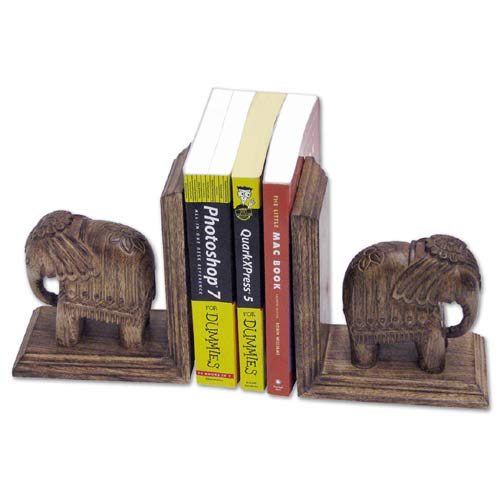 "POLISHED MANGO ""ELEPHANT DESIGN"" BOOK ENDS"