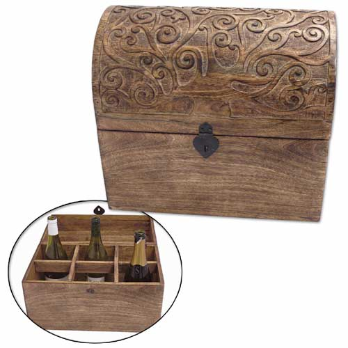 POLISHED MANGO OCTOPUS TREE DESIGN WINE BOX