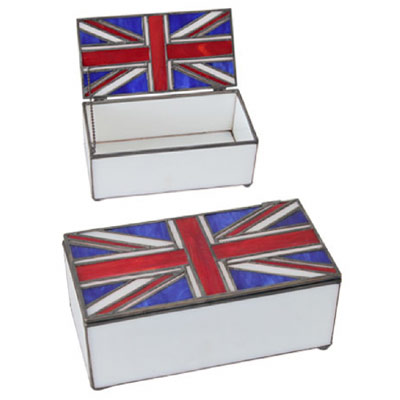 "TIFFANY STYLE ""UNION JACK DESIGN"" JEWELLERY BOX"
