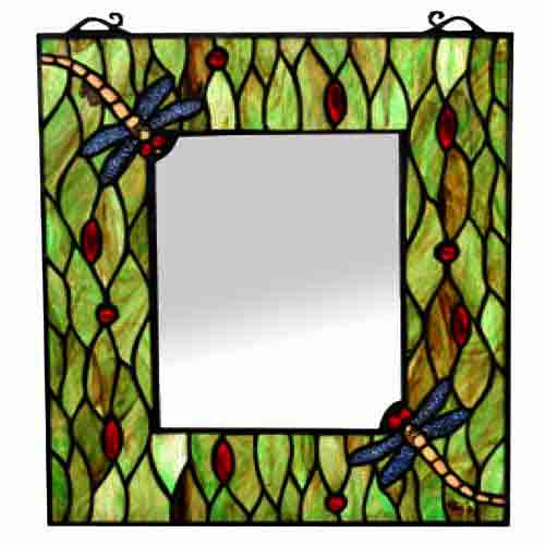 "TIFFANY STYLE ""DRAGONFLY DESIGN"" (42.5cm x 35.5cm) WALL MIRROR"