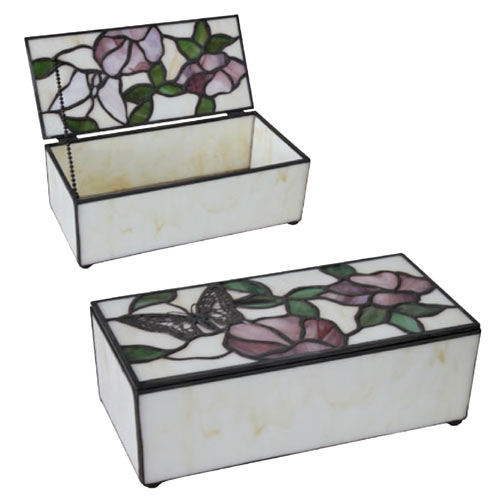 "TIFFANY STYLE ""BUTTERFLY DESIGN"" JEWELLERY BOX"