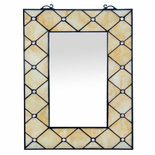 "TIFFANY STYLE ""CREAM JEWELLED DESIGN"" (53.5CM X 35CM) MIRROR"