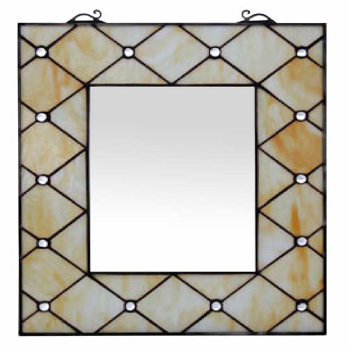 "TIFFANY STYLE ""CREAM JEWELLED DESIGN"" WALL MIRROR"