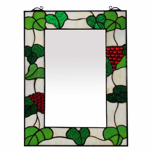 "TIFFANY STYLE ""GRAPE DESIGN"" WALL MIRROR"