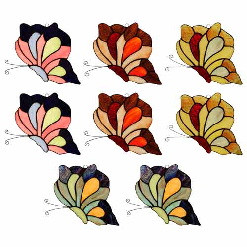 "TIFFANY STYLE SET OF 8 ""BUTTERFLY DESIGN"" SUN CATCHERS"
