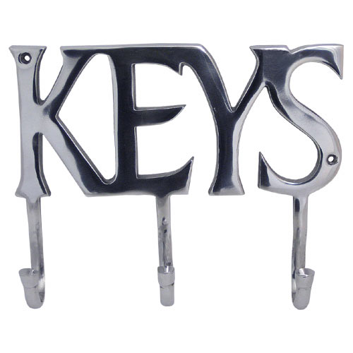 "POLISHED ALLUMINIUM 3 HOOK ""KEYS"" DESIGN KEY HANGER"