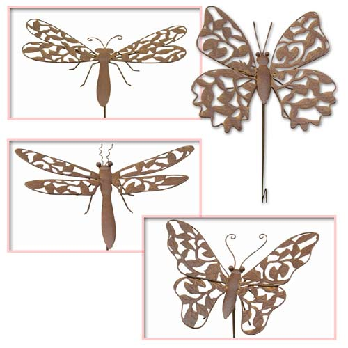 """ANTIQUE RUST FINISH SET OF 4 BUTTERFLY/DRAGONFLY STAKES"""