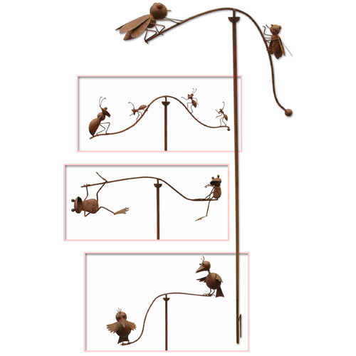 """ANTIQUE RUST FINISH SET OF 4 GARDEN BALANCE STAKES"""