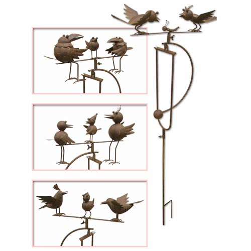 """ANTIQUE RUST FINISH SET OF 4 DOUBLE BIRD SWING STAKES"""