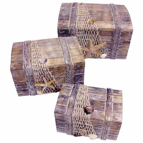 """SET OF 3 HARBOUR DESIGN WOODEN DOME BOXES"""