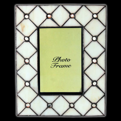 "TIFFANY STYLE ""CREAM JEWELLED DESIGN"" PHOTO FRAME"