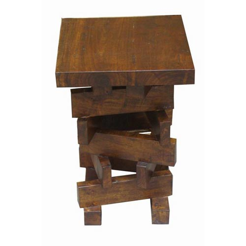 ACACIA WOOD ZIG ZAG TELEPHONE TABLE