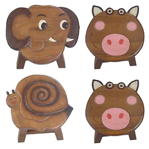 """SNAIL/2PIGS/ELEPHANT"" SET OF 4 PLANT STANDS"