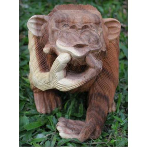 """HAND CARVED"" WOODEN MONKEY READING BOOK"