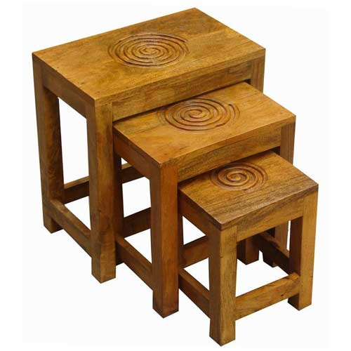 ACACIA WOOD SET OF 3 SPIRAL FLOWER STOOLS