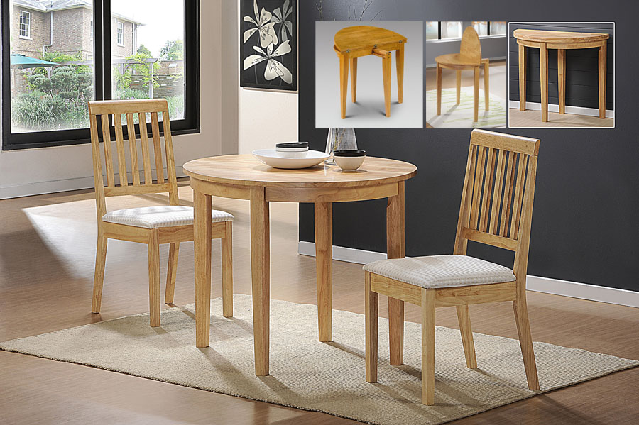 Luner Extending Half Round Table & 2 Chairs