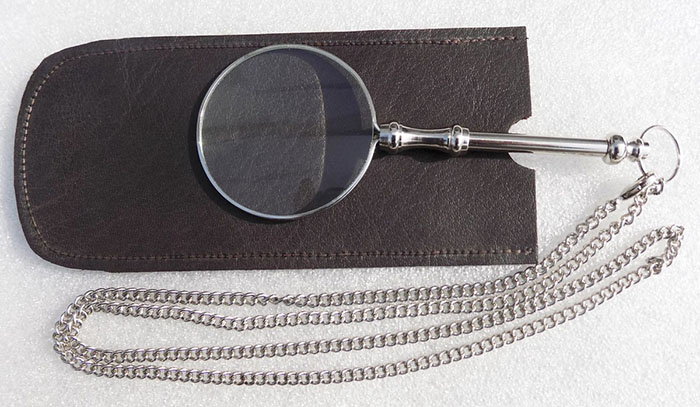 Magnifier Glass With Chain Nickel Finish