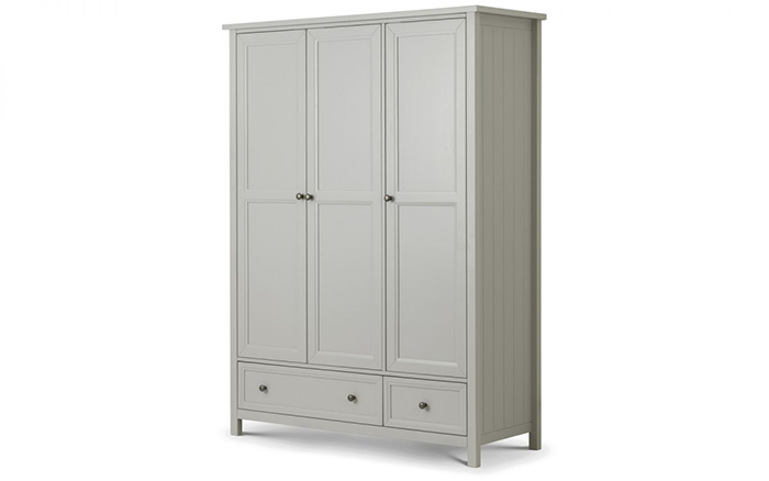 Maine 3 Door Combination Wardrobe Dove Grey Finish