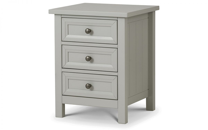 Maine 3 Drawer bedside Dove Grey Finish - Click Image to Close