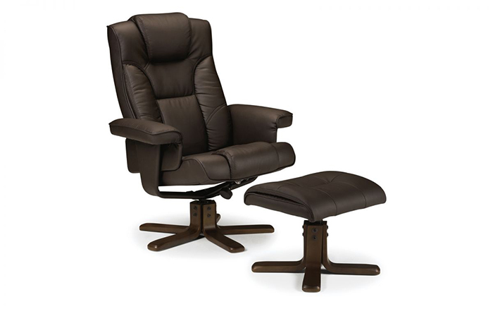 Malmo Recliner & Footstool Brown