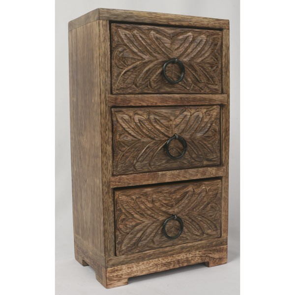 Mango Wood 3 Drawer Leaf Chest