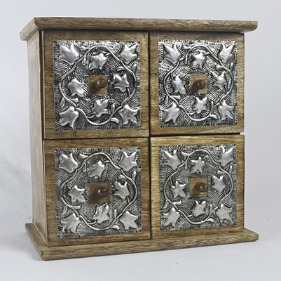Mango Wood 4 Drawer Box metal overlay Chest