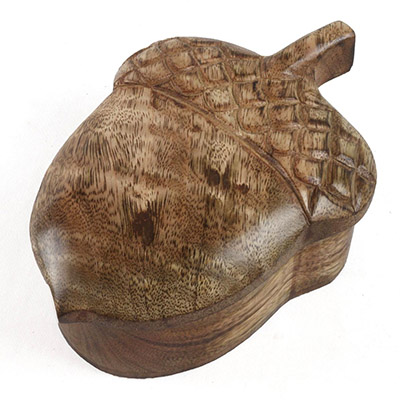 Mango Wood Acorn Box
