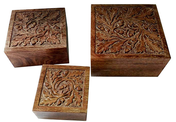 Mango Wood Acorn Design Set of 3 Boxes
