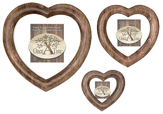 Mango Wood Set Of 3 Free Standing Or Hanging Heart Photo Frame
